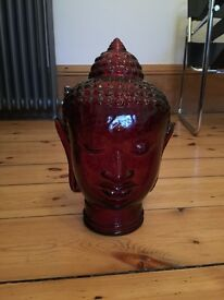 Red glass Buddha head large