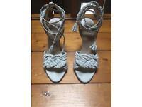Zara Brand New 100% Suede Heeled Sandals
