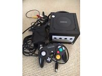 Nintendo Gamecube Black Console, all Wires, One Controller