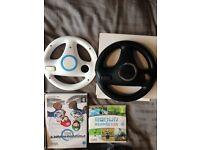 Nintendo Wii Bundle, Motion Plus controller, Wii Wheels, gun holder and games