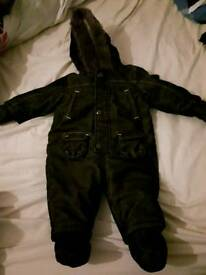Boys dark green mothercare snowsuit 6-9 months