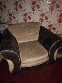 Brown 2 Seater sofa with one arm chair & 3 cushions