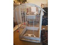 Large white parrot cage