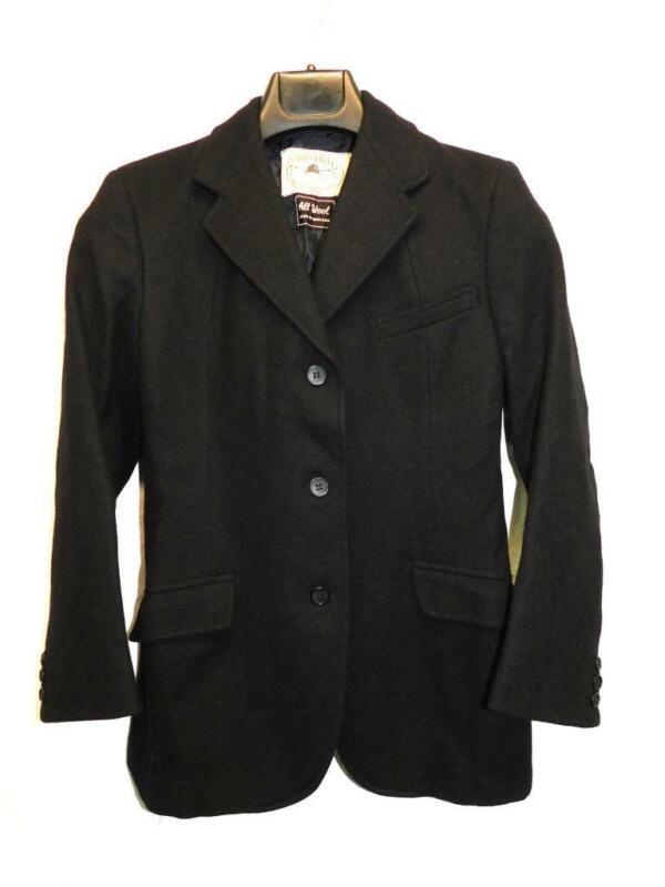 Equestrian Correct Riding Apparel M Girls Black Wool Blazer Jacket England Made