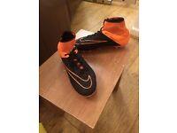 Black and Orange Hypervenom Nike Sock Football Boots.