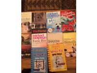8 Micheal morpurgo books and 2 diary of wimpy kid books
