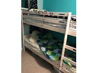 Whitewash wooden bunkbeds