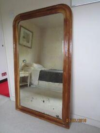 Antique pine wall mirror