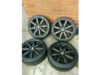 "Genuine Mini Cooper S alloys wheels & tyres 17"" / Limited edition / 4x100 / Mini one / JCW / Black"