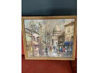 Framed Original Oil painting of Monmatre Paris by French artist J L Leiva