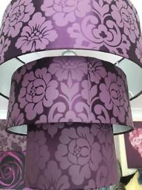 Purple 3 tiered ceiling lampshade