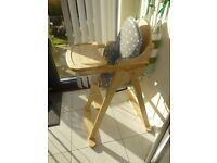 Wooden high chair with waterproof protection