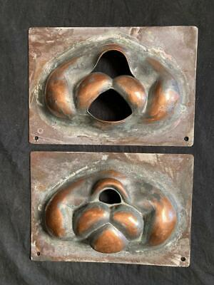 PAIR OF VINTAGE COSTUME CIRCUS HALLOWEEN FACE INDUSTRIAL MOLDS