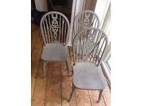 3 Wheelback Chairs painted with grey Annie Sloan chalk paint