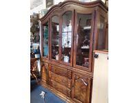 Vintage oak display cabinet room divider