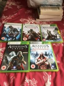 5 x Assassins creed games for Xbox 360
