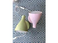 Two Pastel Pink and one Green IKEA Lamps