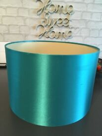 2 lamp shades in teal