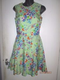 BEAUTIFUL MINT GREEN VINTAGE STYLE FLORAL PATTERNED DRESS SIZE 8/10 PARTY