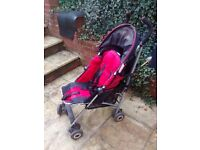 Maclaren Quest Sport Buggy Stroller Foldable Collapsible Black Red Plus Raincover