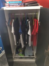 Black wardrobe and kids toy chest