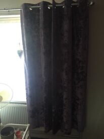 """Crushed velour lined eyelet curtains 66""""x72"""" Only 3 weeks old"""