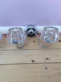Wall Lights Chrome and Glass x3