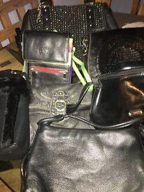 Used Ladies black handbags x 7 job lot £15