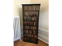 DVD and CD Cabinet in black with glass doors.