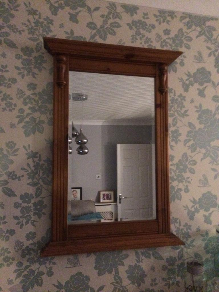 Ducal pine over mantel mirror