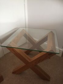Excellent quality Solid oak coffee table with glass top