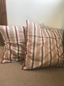 2x striped cotton cushions