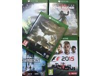 Xbox one games x 5 Batman, tomb raider, f1,Star Wars, alien