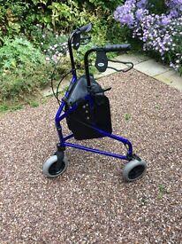 Tri wheel folding lightweight walker