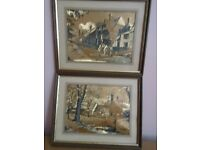 PAIR OF PICTURES (GOLD IN COLOUR)