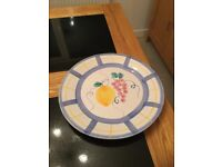Large hand painted platter and matching bowl