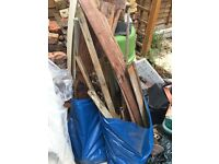 Free wood old broken fence pieces and laminate wood offcuts