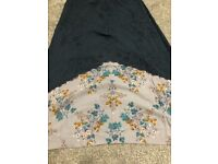 LOVELY BLUE SKIRT - WITH PRINTED FLORAL HEM - EXCELLENT CONDITION