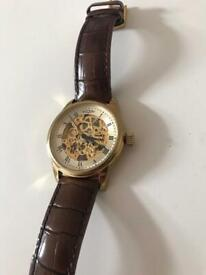 Rotary men's watch, Brown leather & gold