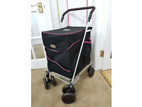 Sholley Shopping Trolley NEW. Never been used Black piped in pink Sturdy, Spacious Easily folds away