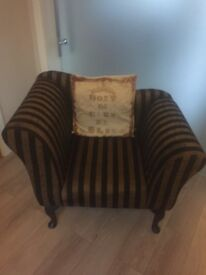 Black & Antique Gold striped statement armchair