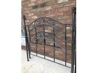 Dark Silver Metal Ornate Double Bed Frame
