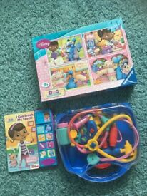 Doc McStuffins bundle(4xpuzzle,book with a sounds and doctor accessories set)