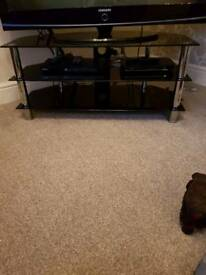 2 x black glass tv units for sale