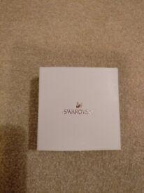 Swarovski Star Ornament, Gold Tone with White Ribbon