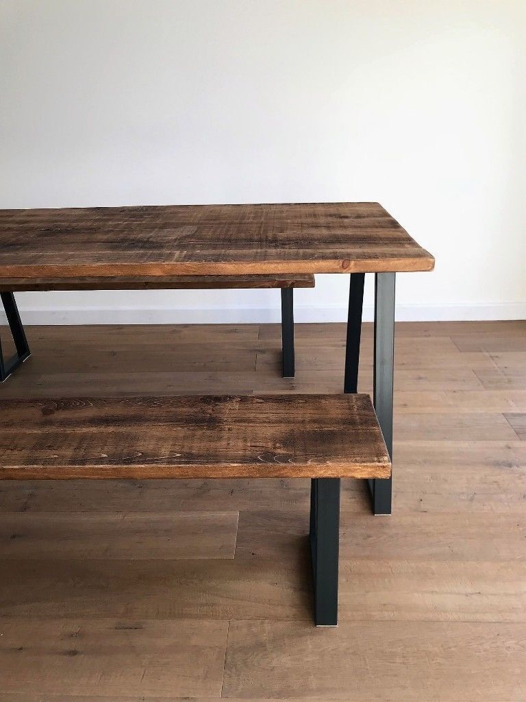 Industrial reclaimed rustic wood steel oak pine metal kitchen dining table benches free delivery