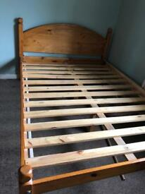 Solid wooden double bed frame £60