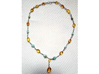 Amber and Larimar Necklace