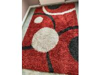 Red black and cream shaggy pile rug 240x 165 cms v g condition