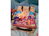 Real wicker hamper filled with everyone's favourite retro sweets